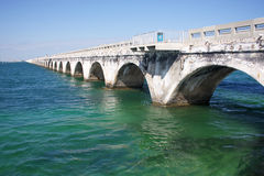 Old seven mile bridge. Old historical seven mile bridge, connected Florida Keys over turquoise caribbean water. The bridge allowed for pedestrians in some areas Royalty Free Stock Images