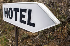 Old seventies style Hotel sign post, Costa del Sol, Spain Royalty Free Stock Photography