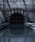 Old sewer. Background for scary scene,3d rendering stock illustration