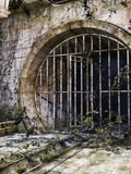 Old sewer entrance. Entrance gate to an old abandoned sewer Stock Photos