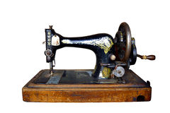 Old sewing machine. On white background Royalty Free Stock Images