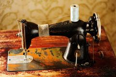 Old sewing machine. With treadle Royalty Free Stock Photos
