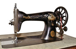 Old sewing machine. Isolated on white background Stock Photo