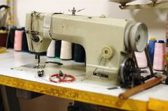 Old sewing machine stock images