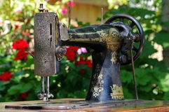 Old sewing-machine. Front view of an old sewing machine Stock Images