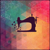Old sewing machine on hipster background made of triangles with. Grunge paper. Retro background with floral ornament and geometric shapes.Retro label design vector illustration