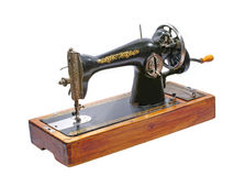 Old sewing machine.Isolated. Stock Photo