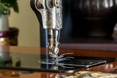 Old sewing machine ready to use Royalty Free Stock Photos