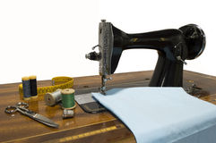 Old sewing machine sewing Royalty Free Stock Photos