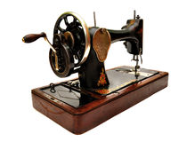 Old sewing machine on white Royalty Free Stock Photo