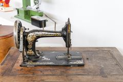 Old sewing machine. stock photo