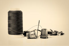 Old sewing utensils Stock Photo