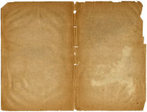 Old shabby book open on both pages. Old shabby book open on both blank pages (scan Royalty Free Stock Photo