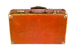 Old shabby brown suitcase with angle bars. Royalty Free Stock Photos