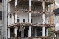 Planned demolition of old buildings royalty free stock image