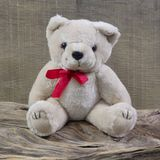 Old shabby chic teddy-bear is sitting on rustic wood - christmas. Old shabby chic teddy-bear is sitting on rustic wood - object for christmas decoration royalty free stock photography