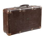 Old shabby leather suitcase royalty free stock photo