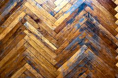 Old shabby parquet floor. Top view. Vintage royalty free stock photos