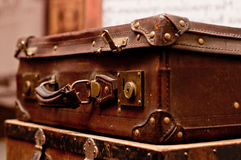 Old shabby suitcases Stock Photos