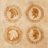 Old shabby symbol of reproduction on paper Spartan warrior in grunge style. On the image presented old shabby symbol of reproduction on paper Spartan warrior in Royalty Free Stock Photography