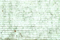 Old shabby wall of green brick color as  abstract background stock photo