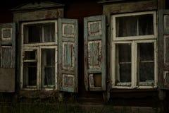 Old shabby wood opened window Royalty Free Stock Image