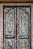 Old shabby wooden door. Close up. Texture. Galle, Sri Lanka royalty free stock images