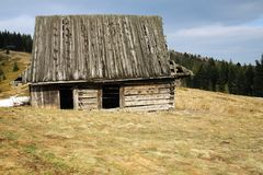OLD SHACK MOUNTAIN LANDSCAPE Stock Photos