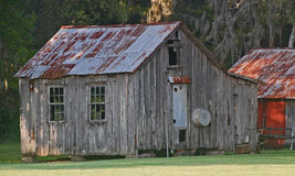 Old shack with washtub on the side. Royalty Free Stock Image