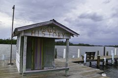 Old shack on a wooden pier stock images