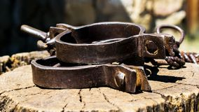Free Old Shackles On A Stump. Old Shackles Attached To The Chain To The Log. Photos Of Old Shackles Attached To The Chain To The Log Royalty Free Stock Images - 154569869