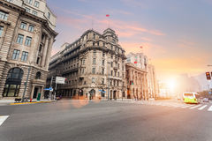 Old shanghai of the bund in sunset Stock Photo