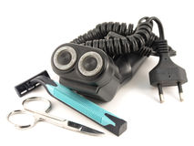 Old shaver, shaving-set and scissors Royalty Free Stock Image