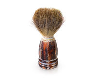 Old shaving brush isolated. Retro mens swab stand on white backg Stock Photo