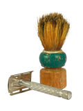 Old shaving brush and razor Stock Photo
