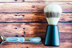 Old shaving brush with razor  Stock Image