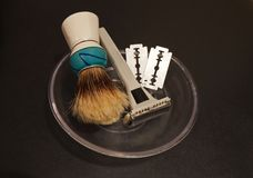 Old shaving set Royalty Free Stock Image