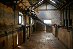 Old Shearing Shed. A view down the shearing stands of an old shearing shed Royalty Free Stock Photos