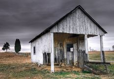 The Old Shed. Farm shed in slow decline under moody sky Royalty Free Stock Images