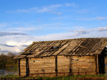 Old Shed. Old farm shed on the bank of the river Royalty Free Stock Image