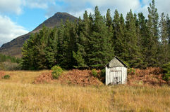 Old shed. An old derelict down shed with a old worn out bicycle resting against it in a remote area of the scottish highlands Royalty Free Stock Photography