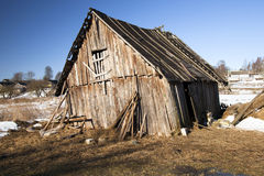 Old shed. The old wooden shed located in rural areas. Belarus Royalty Free Stock Photo