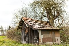 Old shed on a green meadow in winter Stock Photography