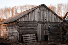 Old shed. He old ruined barn whose age is 60 years Stock Photo