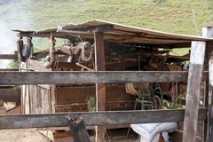 Old shed of stuff and tools in use in the little farm. In Sao Paulo, Brazil royalty free stock photo