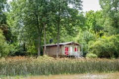 Old shed on the Tigre river Delta. Buenos Aires stock image