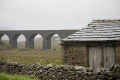 Old shed and viaduct Yorkshire Dales Yorkshire England Royalty Free Stock Photo