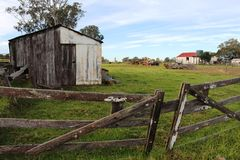 Old shed and wooden gates Stock Photo