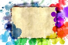 Old sheet on a color watercolor background Royalty Free Stock Images