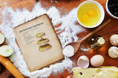 Old sheet  and flour Stock Photography